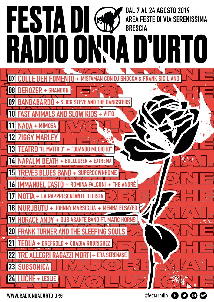 manifesto festa di radio onda d'urto 2019